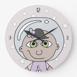 Feminist Baby Girl Astronaut Stars Doodle and Name Large Clock