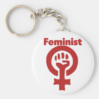 Feminist Basic Round Button Key Ring