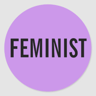 Feminist, bold black text on lavender stickers