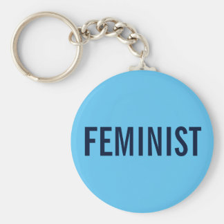 Feminist, bold navy text on sky blue basic round button key ring