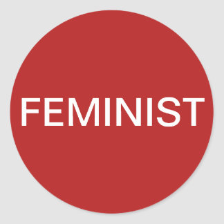 Feminist, bold white text on red stickers