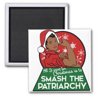 Feminist christmas square magnet