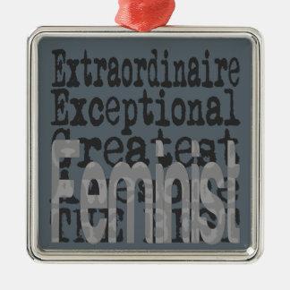 Feminist Extraordinaire Silver-Colored Square Decoration