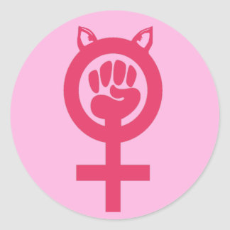 Feminist Fist Pink Pussy Power Women's March Round Sticker