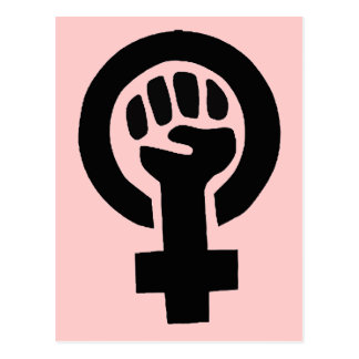 Feminist Girl Power Symbol with Pink Background Postcard