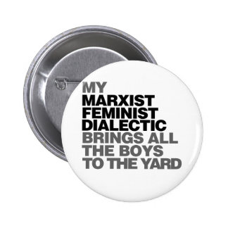 Feminist humor pinback button