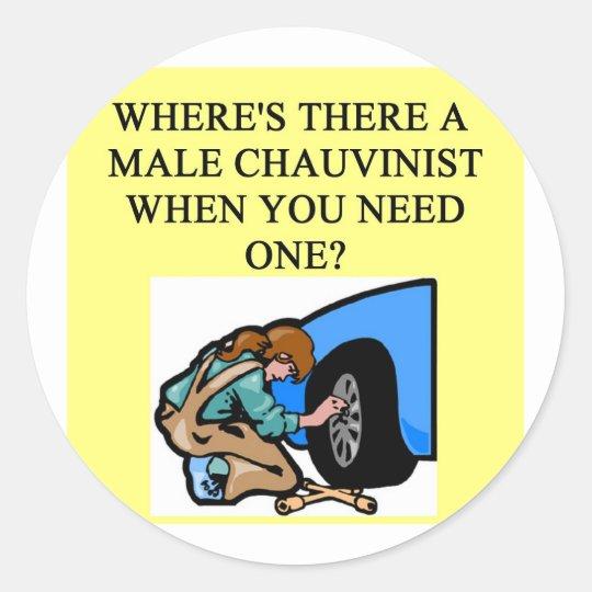 feminist joke classic round sticker