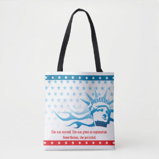 Feminist She was warned She Persisted Patriotic Tote Bag