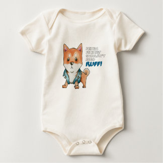 Feminist Shiba Inu Dog Watercolor Painting Baby Bodysuit