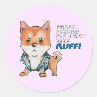 Feminist Shiba Inu Dog Watercolor Painting Round Sticker