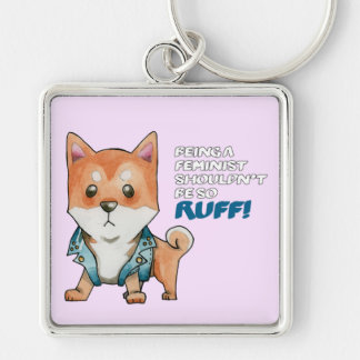 Feminist Shiba Inu Dog Watercolor Painting Silver-Colored Square Key Ring