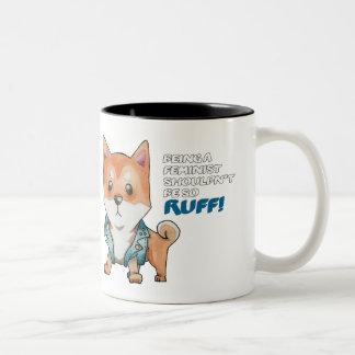 Feminist Shiba Inu Dog Watercolor Painting Two-Tone Coffee Mug