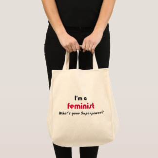 Feminist super power pink slogan tote bag