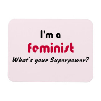 Feminist super power slogan pink magnet