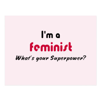 Feminist super power slogan pink postcard