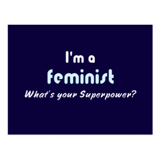Feminist super power slogan postcard