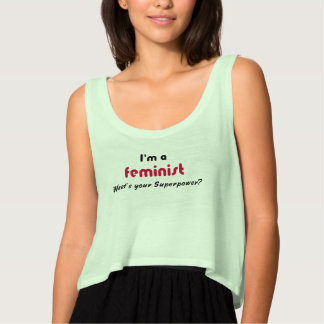 Feminist super power slogan flowy crop tank top