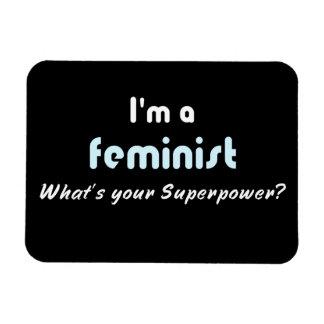 Feminist super power slogan white black magnet
