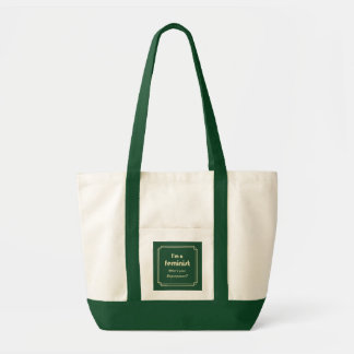 Feminist superpower slogan gold on green tote bag