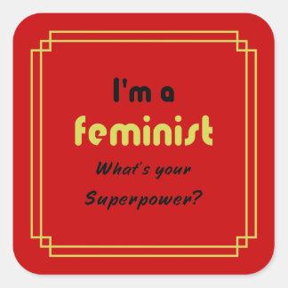 Feminist superpower slogan gold on red square sticker