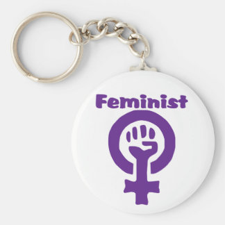 Feminist Symbol in Purple Basic Round Button Key Ring