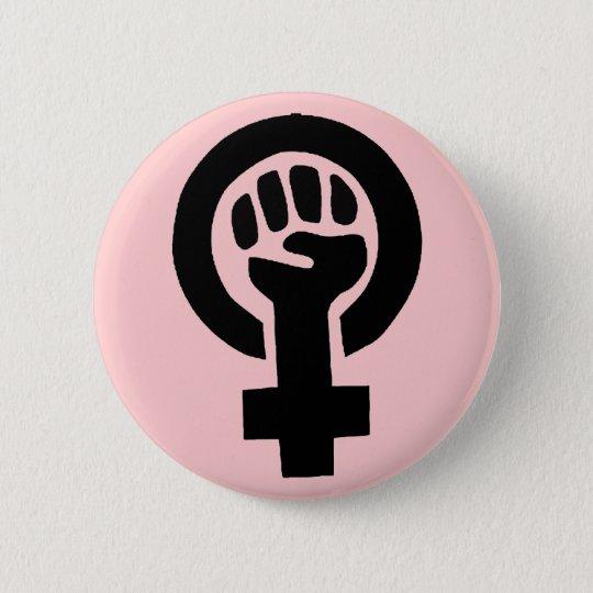 Feminist Symbol with Pink Background 6 Cm Round
