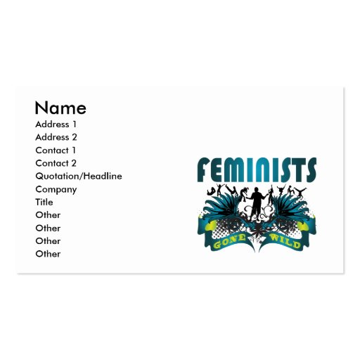 Feminists Gone Wild Business Cards