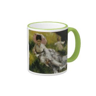 Femme à l'ombrelle et enfant - Auguste Renoir Coffee Mugs