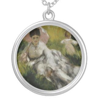 Femme à l'ombrelle et enfant - Auguste Renoir Round Pendant Necklace