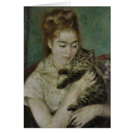Femme au Chat - Pierre Auguste Renoir Card