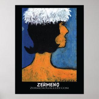 """Femme avec Charpeau Blanche""  by Zermeno Poster"