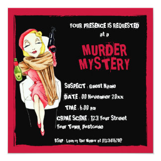 Femme Fatale black Murder Mystery Invitation