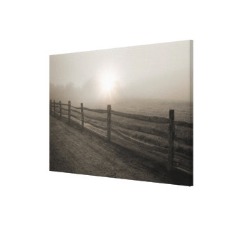 Fence and Sunburst Through Fog near Sharon Canvas Print