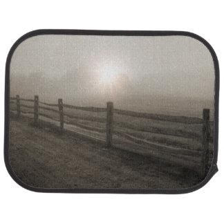 Fence and Sunburst Through Fog near Sharon Car Mat