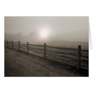 Fence and Sunburst Through Fog near Sharon Card