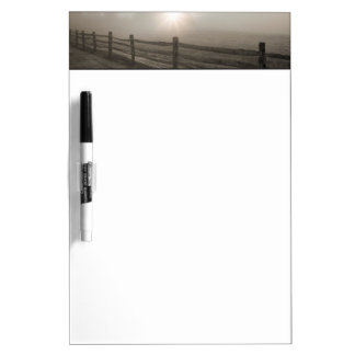 Fence and Sunburst Through Fog near Sharon Dry Erase Board