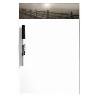 Fence and Sunburst Through Fog near Sharon Dry Erase Boards
