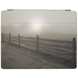 Fence and Sunburst Through Fog near Sharon iPad Cover