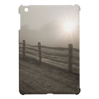 Fence and Sunburst Through Fog near Sharon iPad Mini Cases