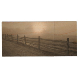 Fence and Sunburst Through Fog near Sharon Wood USB 2.0 Flash Drive