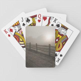 Fence and Sunburst Through Fog near Sharon Playing Cards