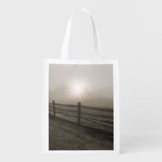 Fence and Sunburst Through Fog near Sharon Reusable Grocery Bag