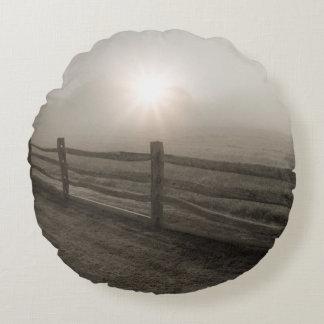 Fence and Sunburst Through Fog near Sharon Round Cushion