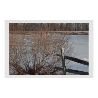 Fence and Tree with Frozen Lake Poster