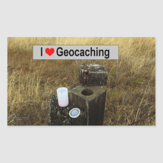 Fence Post Hide: Geocaching Rectangular Sticker