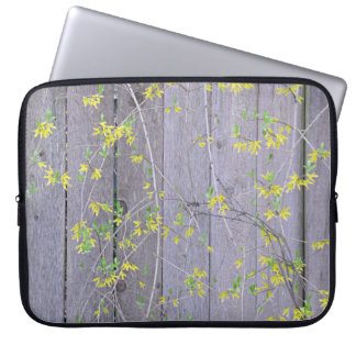 Fence with Forsythia Laptop Computer Sleeves