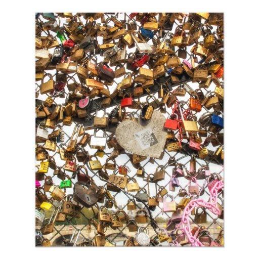 Fence with padlocks of love photography personalized flyer