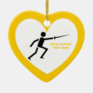 Fencer black silhouette with sword fencing custom ornaments