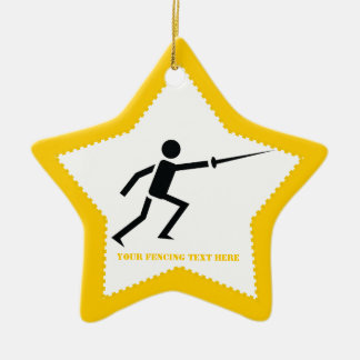 Fencer black silhouette with sword fencing custom christmas ornaments