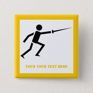 Fencer black silhouette with sword fencing yellow 15 cm square badge